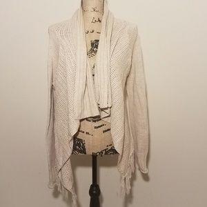 RD Style draped fringe cream cardigan sweater